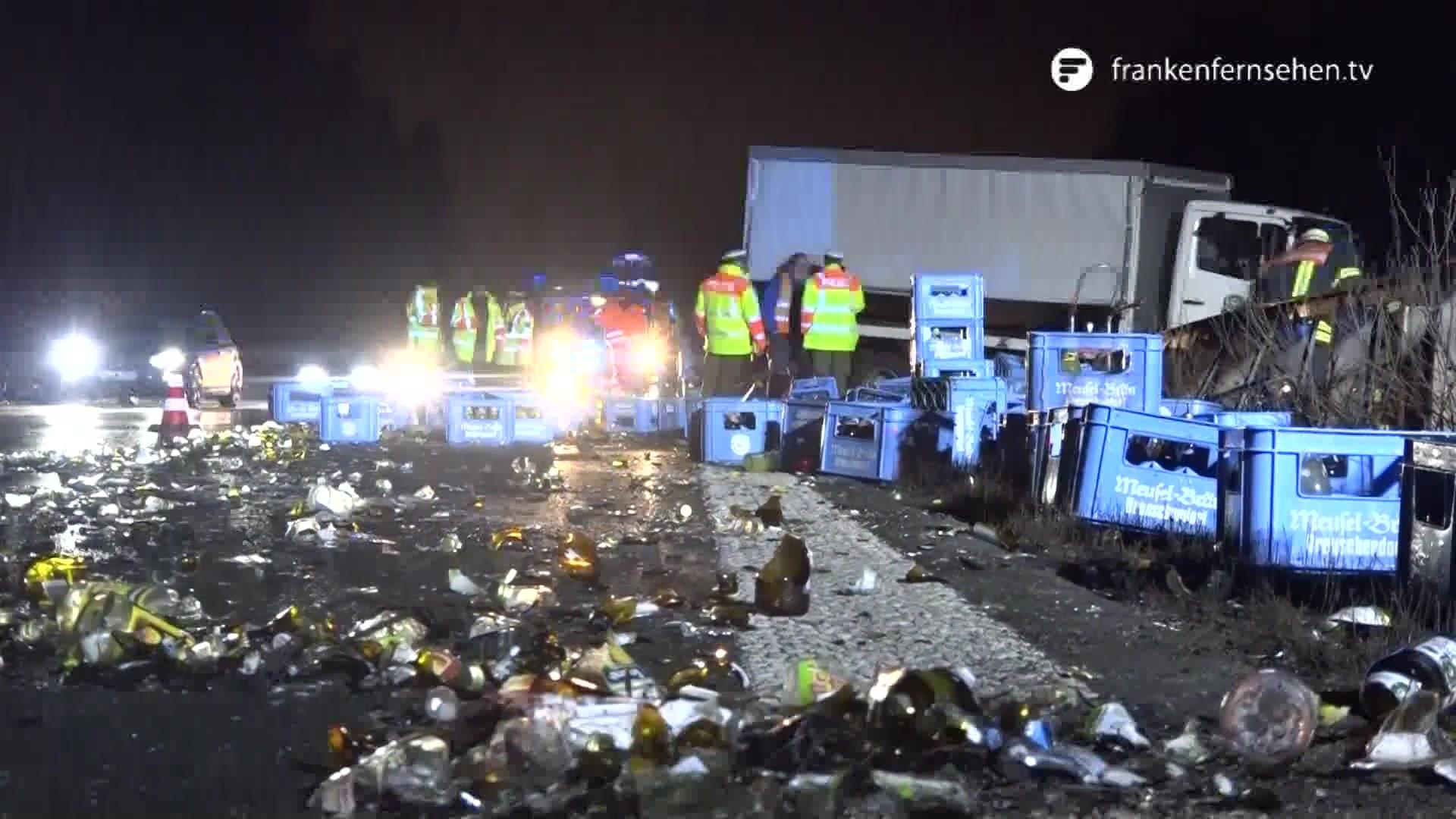 LKW-Unfall auf A73: Laster verliert hunderte Liter Bier | Franken ...